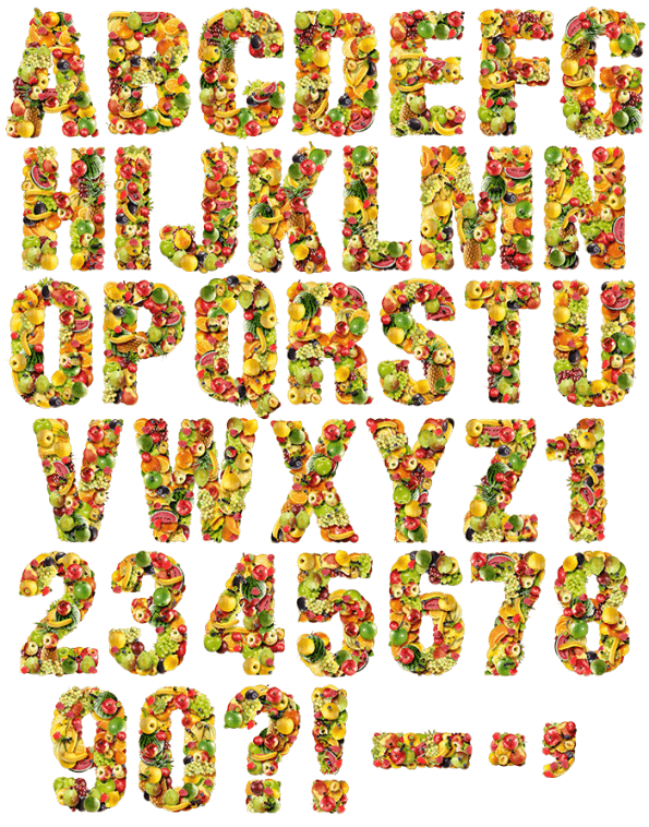 Png food alphabet fonts. Fruits font welcome to
