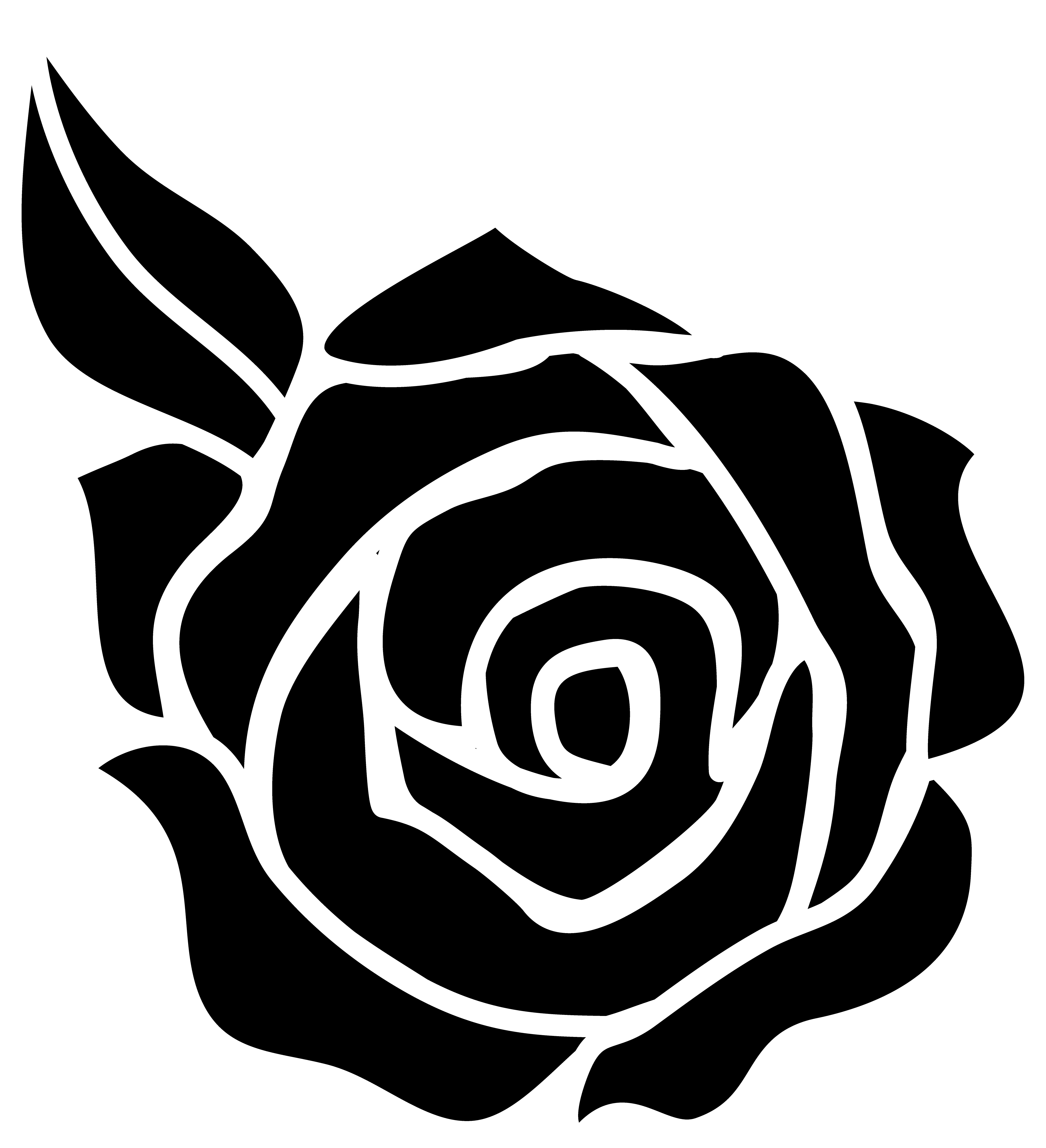 Outline vector rose. Horseshoe and vinyl decal