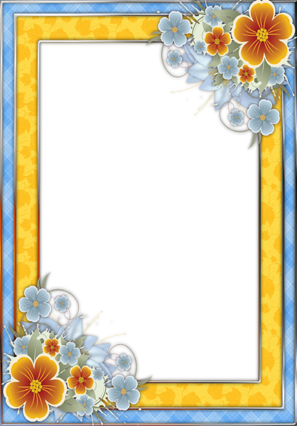 Png frame. Blue and yellow transparent