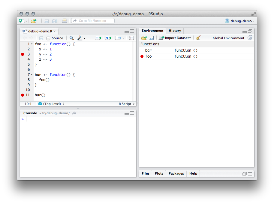 Debugging with rstudio breakpoints. Png function in r graphic library