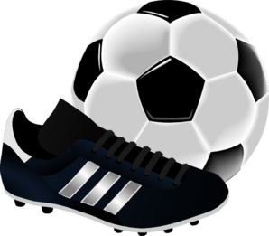 Soccerball drawing soccer cleat. Boys girls good hope