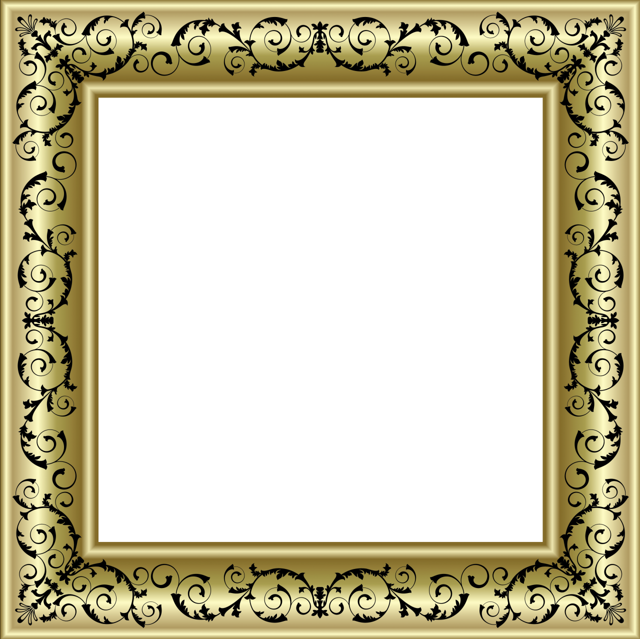 Golden frame vector png. Gold photo with black