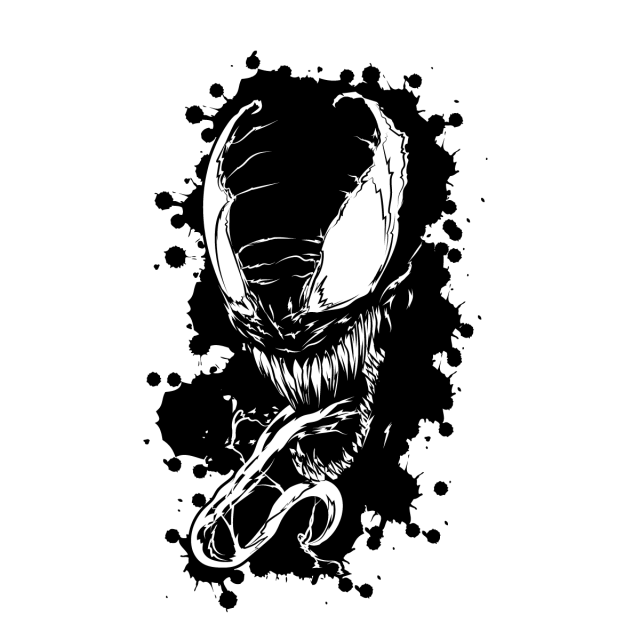 Venom tshirt illustration silhoutte. Vectorial drawing png library