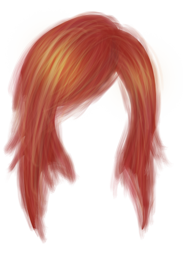 Hair with bangs png. Human color coloring red