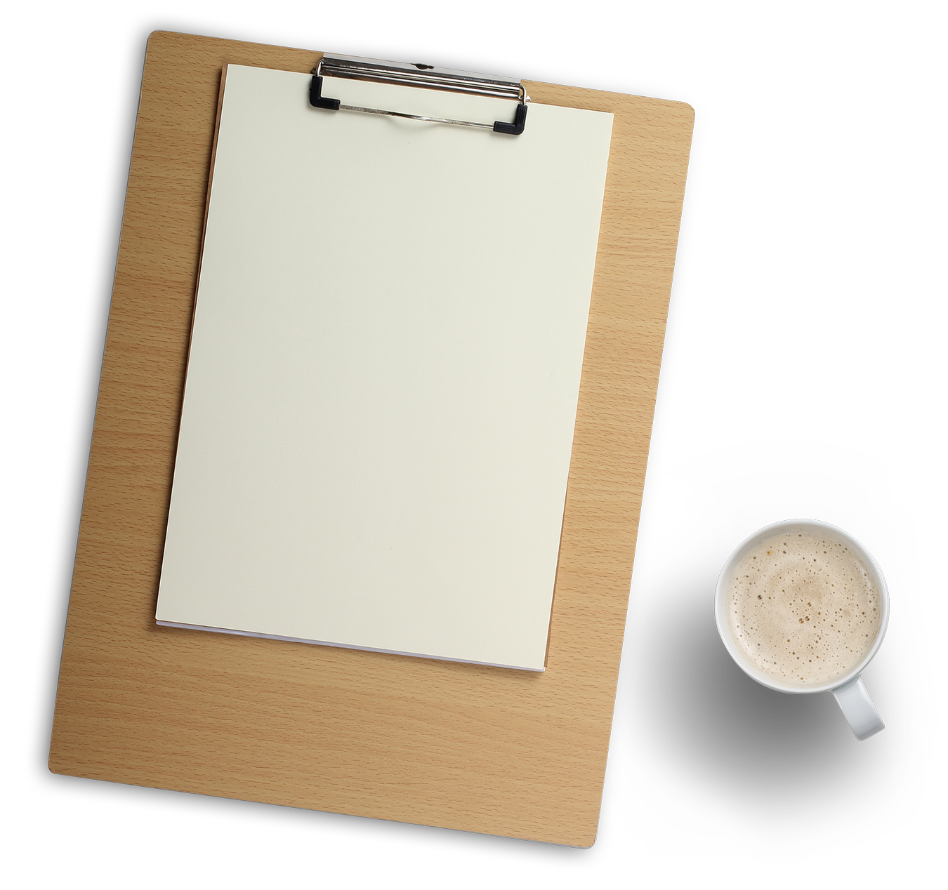 Png image clipboard. Wood and coffee cup