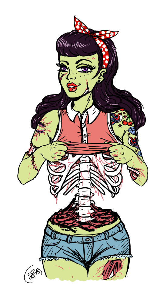 Png images of girls with tattoos. Zombie pin up by