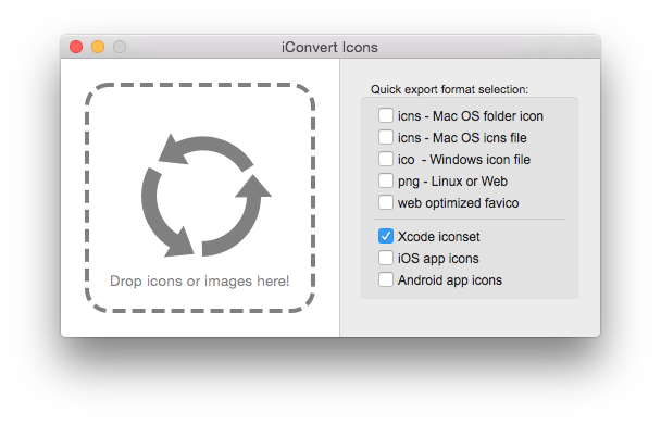 Convert png files to ico files. Create and icns iconvert