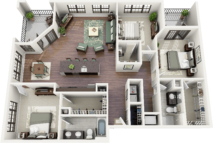 Stairs transparent small apartment. Three bedroom house