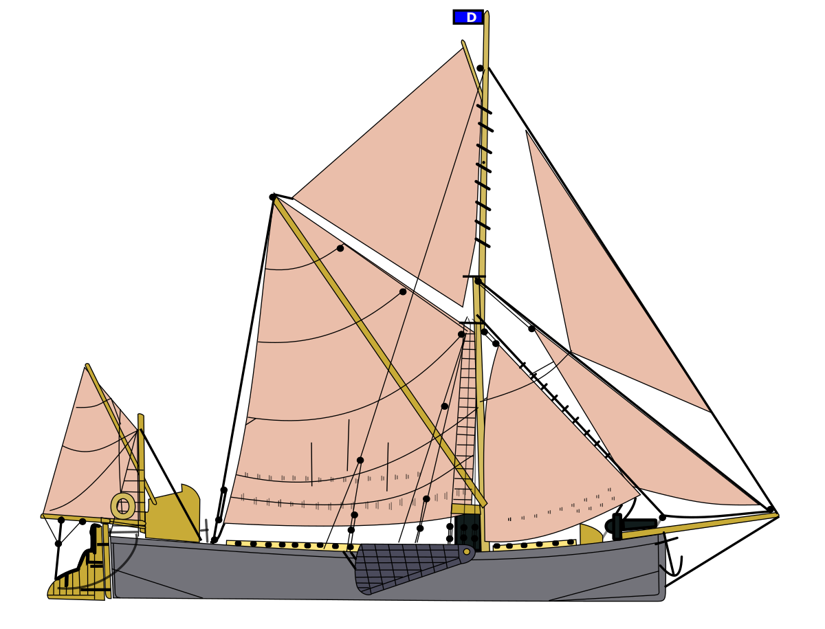 caravel drawing labeled