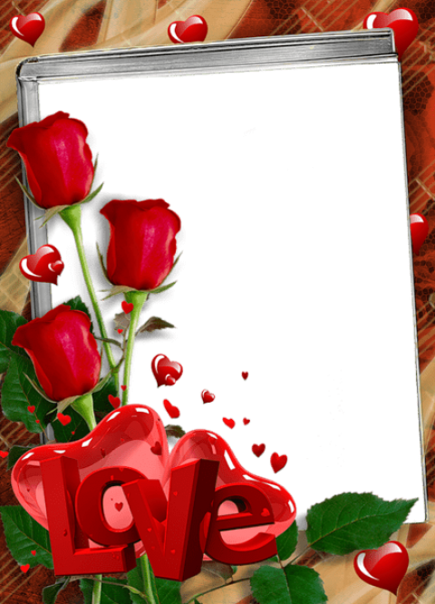 Png love frame. Red transparent with roses