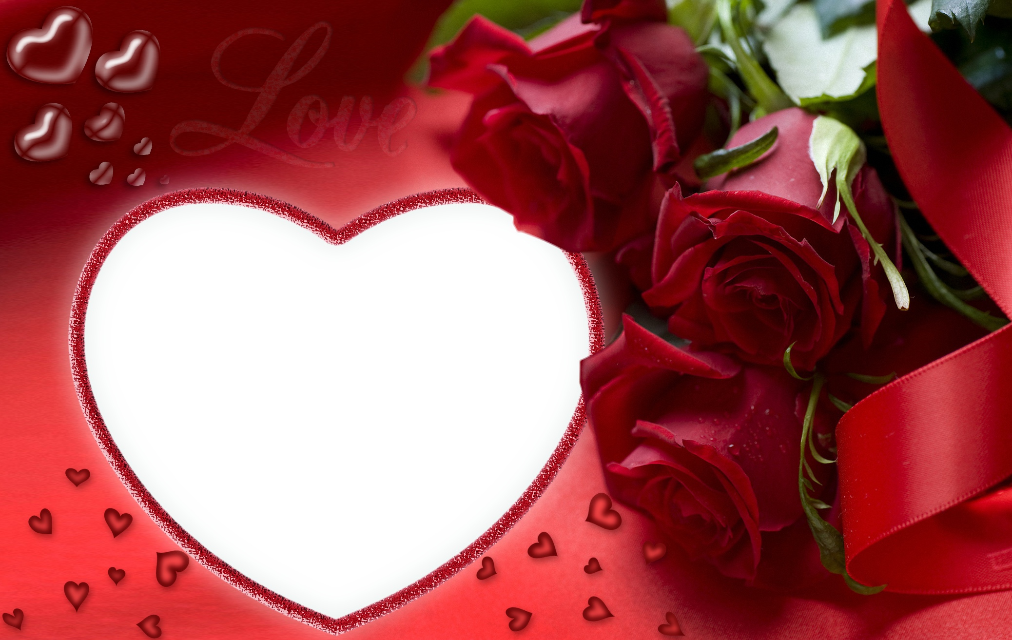 Png love frame. Red roses and heart