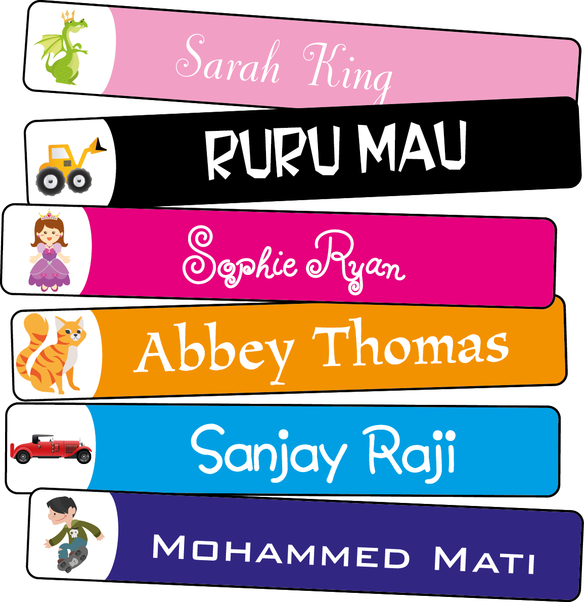 Png name labels. X mm by design