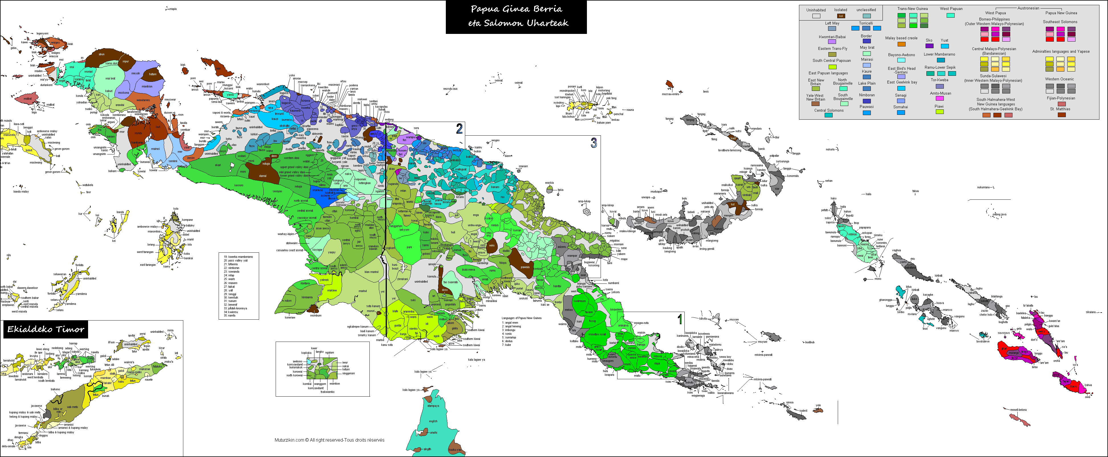 Png new guinea. Linguistic map of the