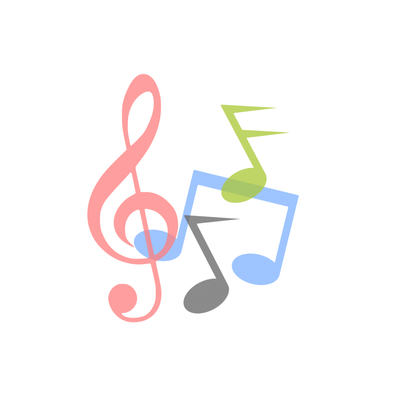 Vector notes logo. Clef music free elements
