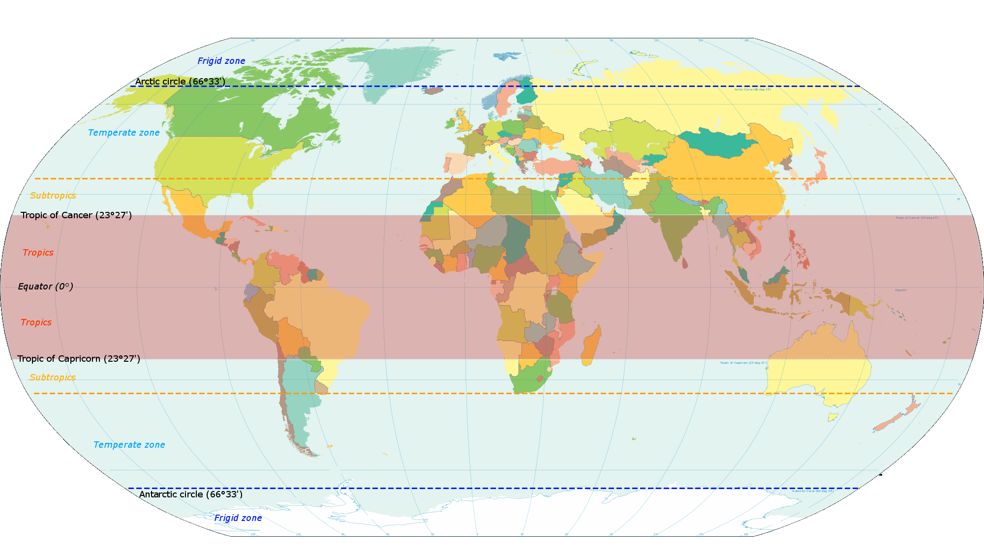 Png on world map. File indicating tropics and