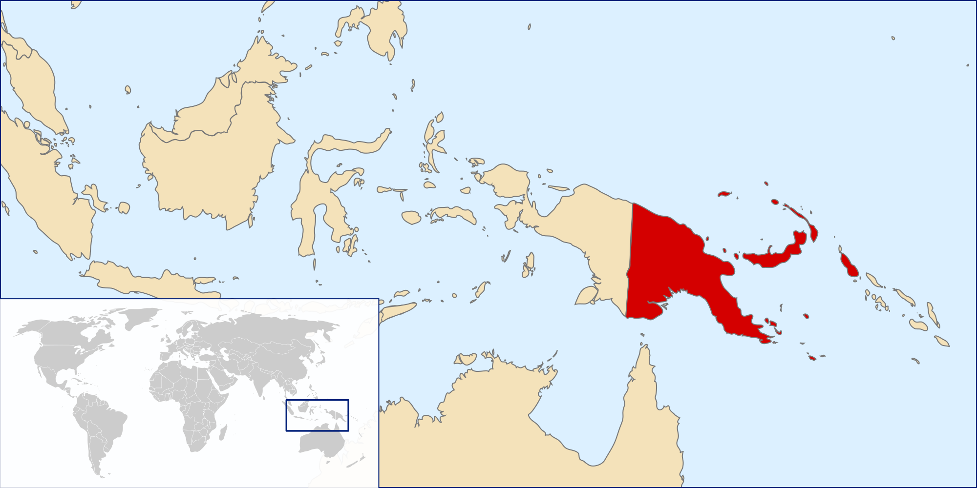 Png on world map. Atlas of papua new