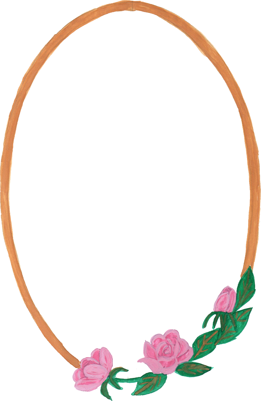 Png oval frame. Watercolor with flowers