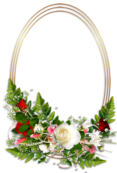 Png oval frame. Transparent photo with flowers