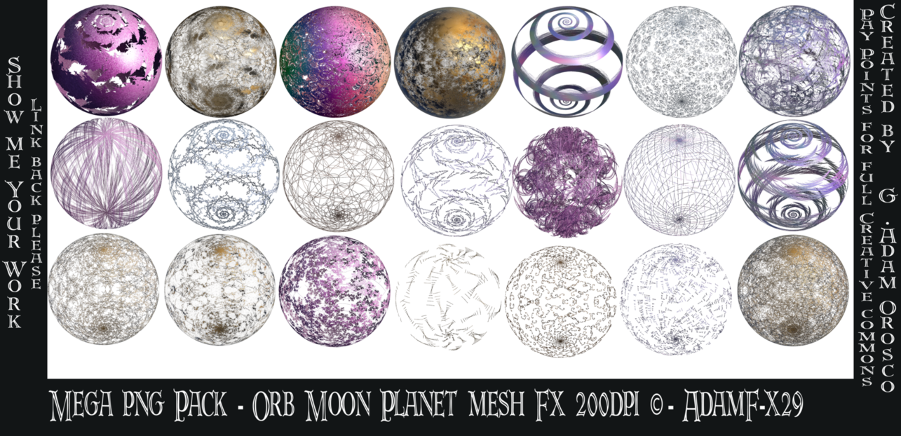 Png pack for photoshop. Mega orb moon planet
