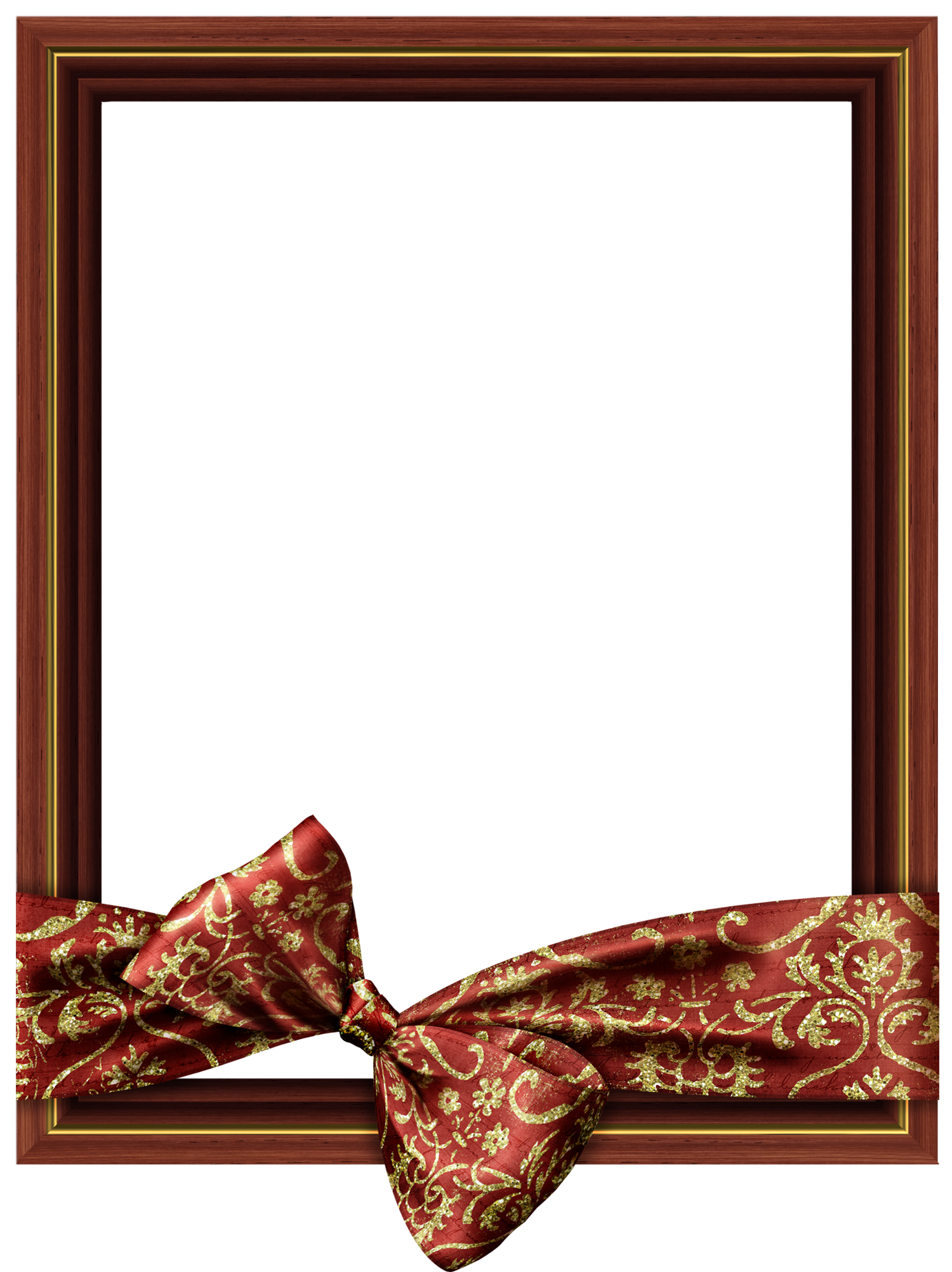 Png photo frames. Brown classic transparent frame