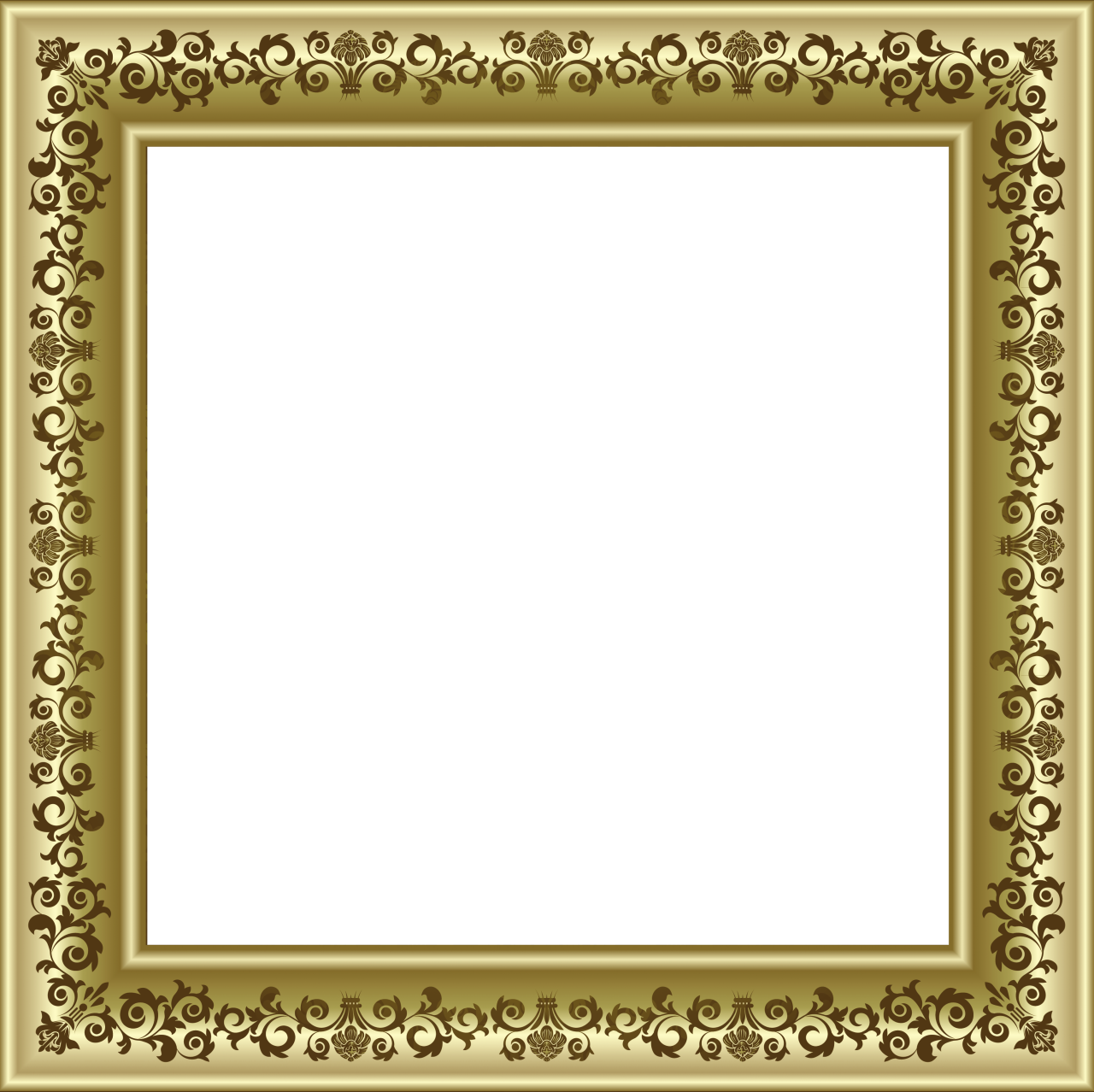 Png photo frames. Gold frame with brown