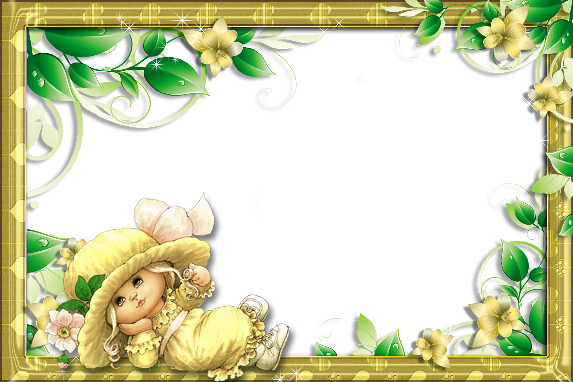 Png photo frame download. Transparent with cute girl