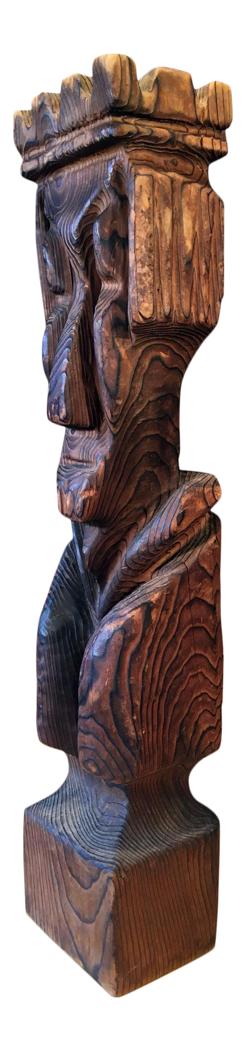 Png pic of flat tiki statue. Mid century carved king