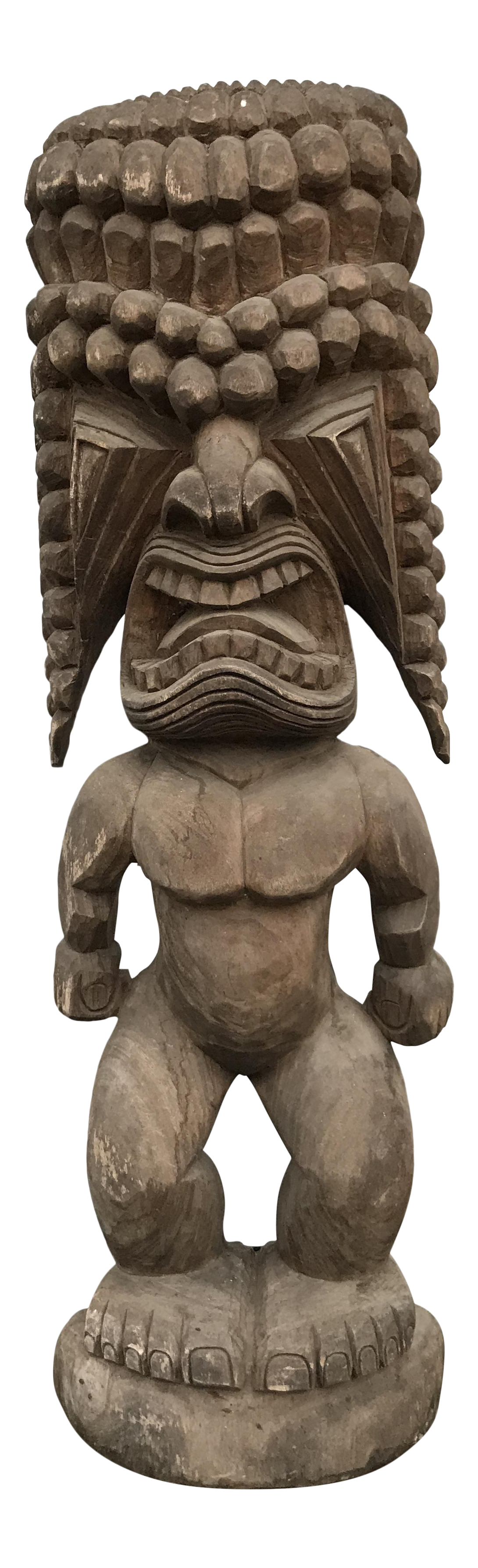 Png pic of flat tiki statue. Monumental carved totem chairish