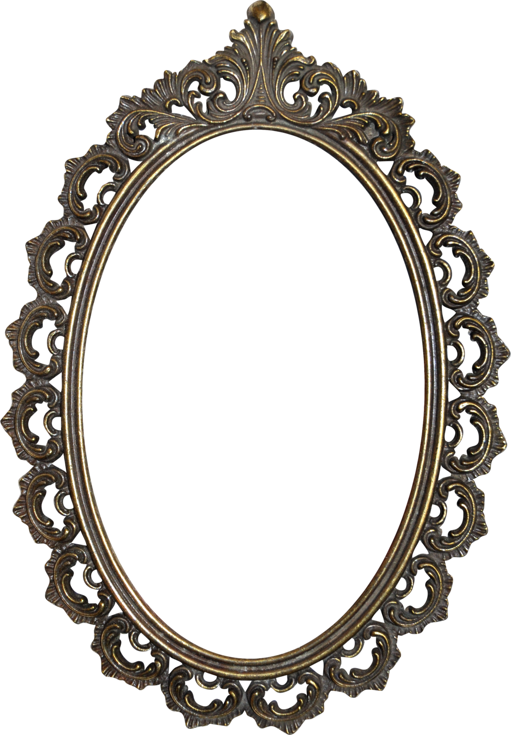 Png picture frame. Golden mirror image with