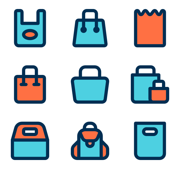 Luggage vector flat. Handbag icons free bags