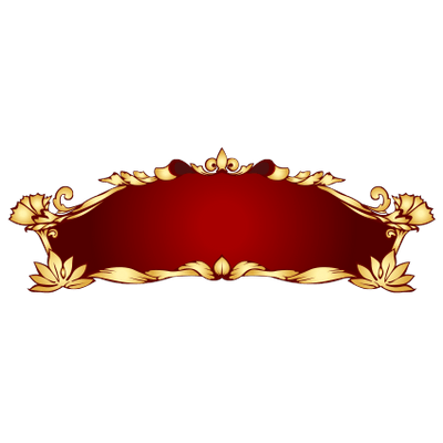 Png red and gold banner. Art nouveau transparent stickpng
