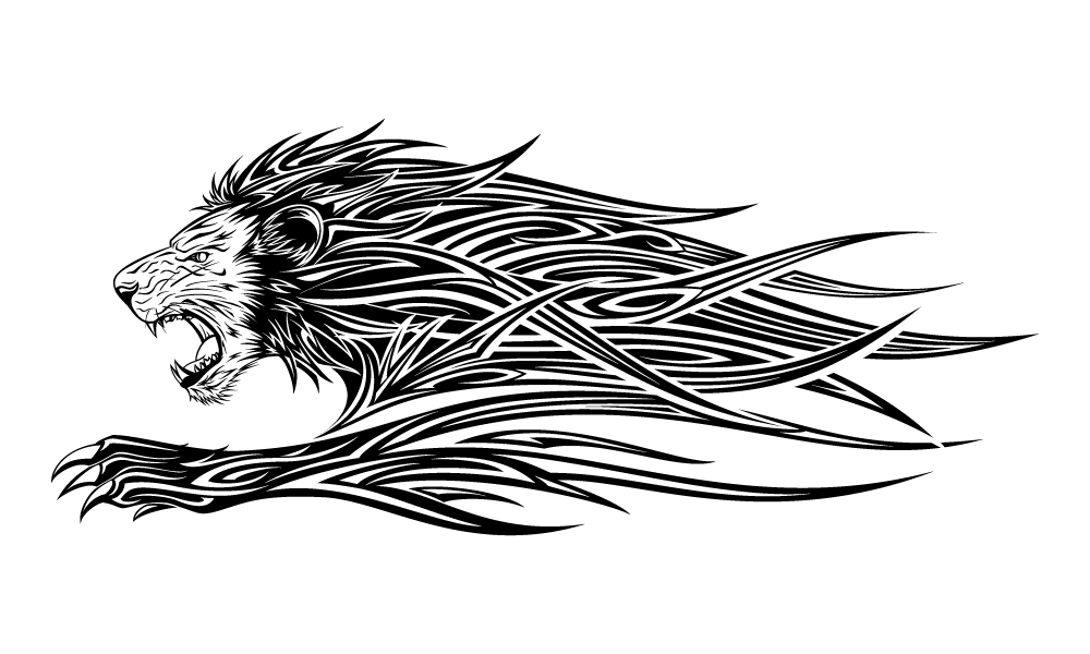 Tribal transparent body. Lion tattoo png free