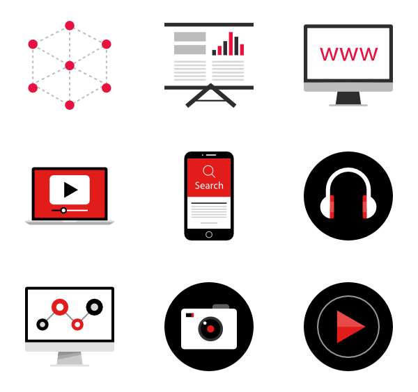 Png video icon. Packs vector svg
