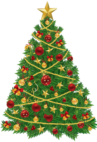 Christmas clipart transparent. Large tree with red