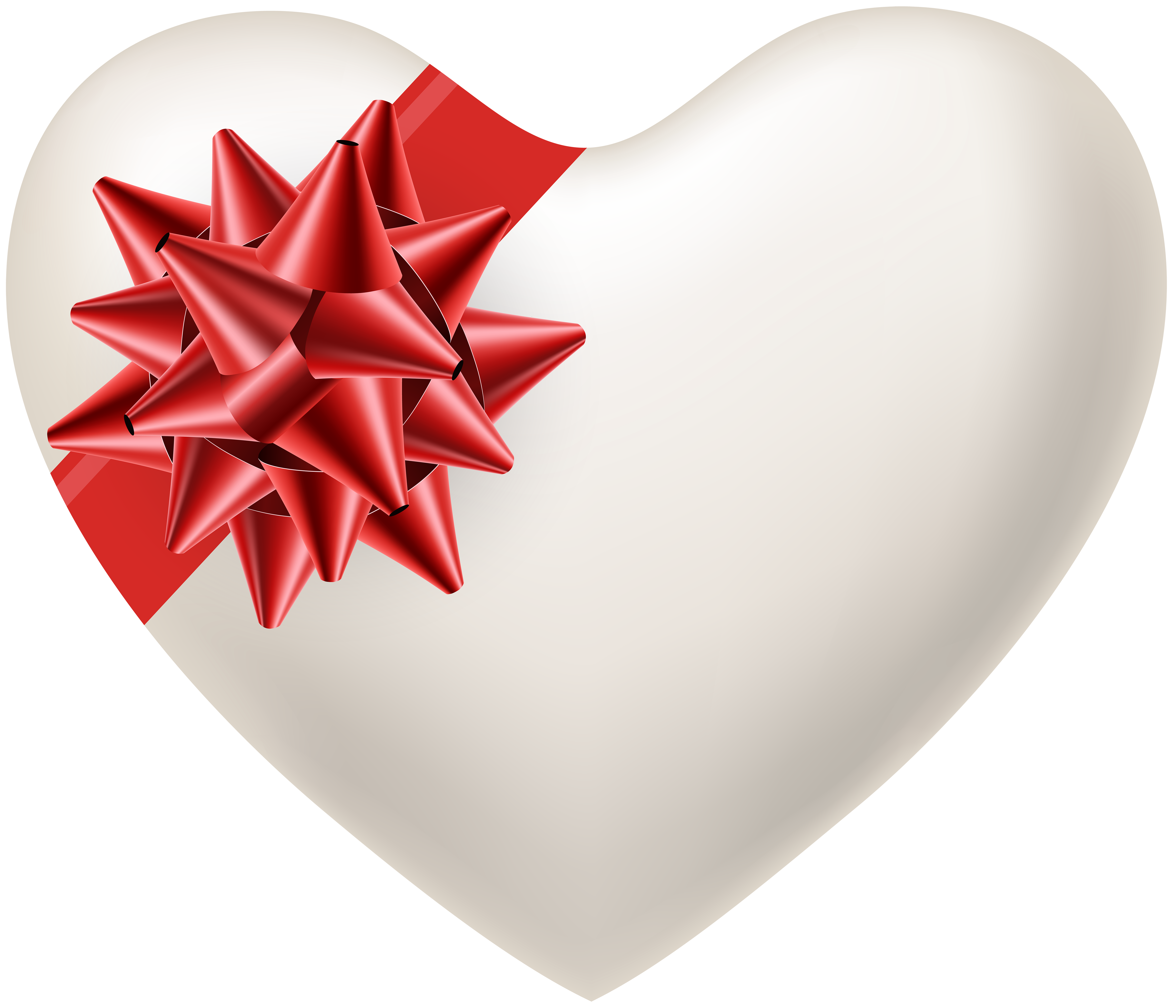 Png white heart. With red bow transparent