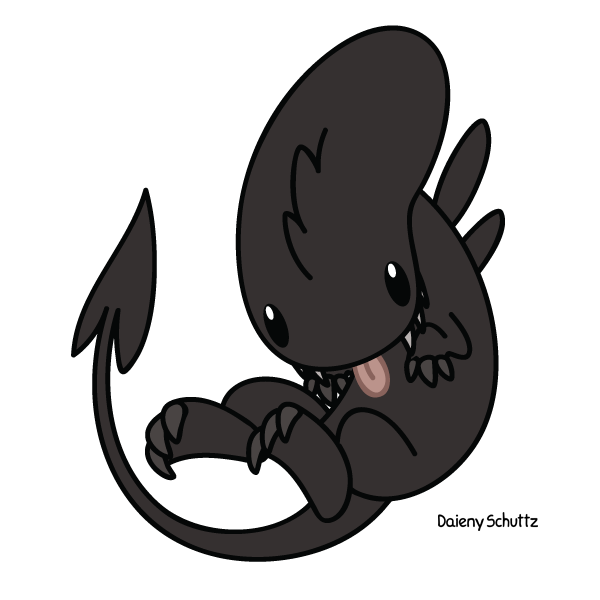 Xenomorph transparent cute. Chibi alien by daieny