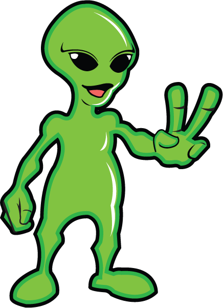 Trippy vector alien head. Collection of clipart