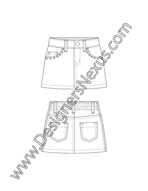 Pocket drawing illustrator. Childrenswear apparel flat sketch