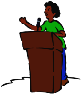 Speaker clipart public speech. At podium clip art