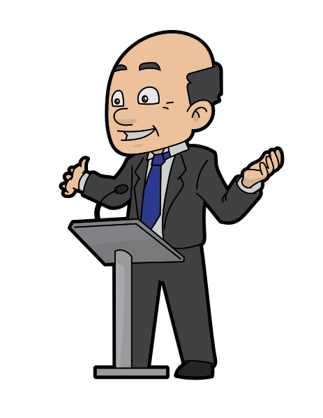 Speaker clipart public speech. Man speaking from podium