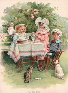 Poem clipart tea time. Little girl a nice