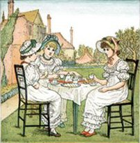 Poem clipart tea time. Kate greenaway