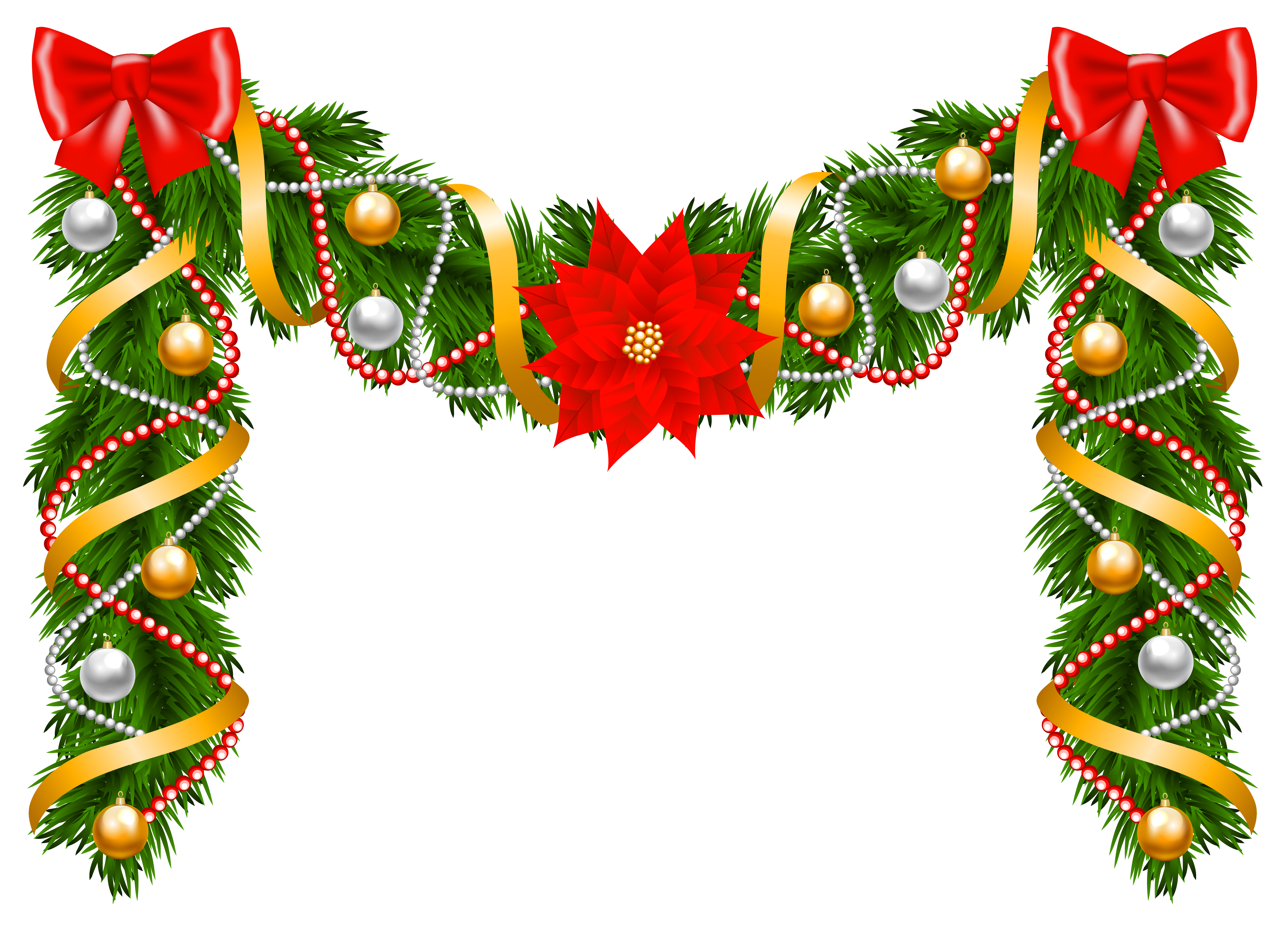 Poinsetta clip garland. Collection of free garlanded