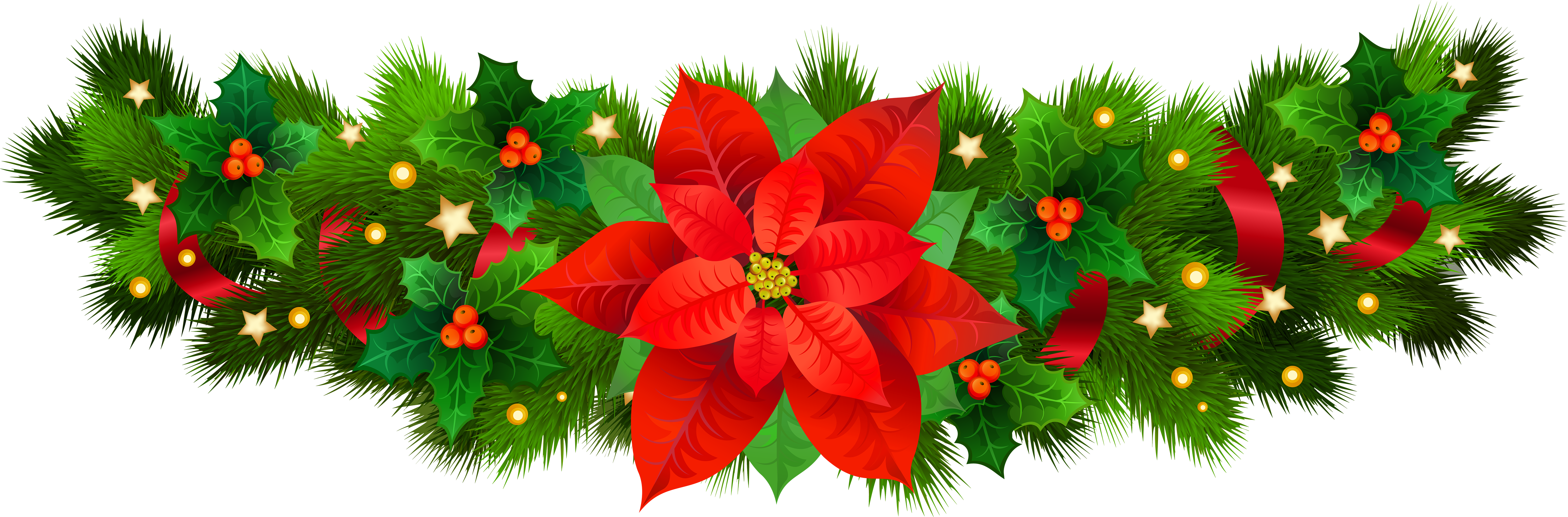 Christmas decorative with poinsettia. Poinsetta clip png free