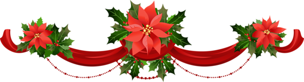 Poinsetta clip. Transparent christmas garland with