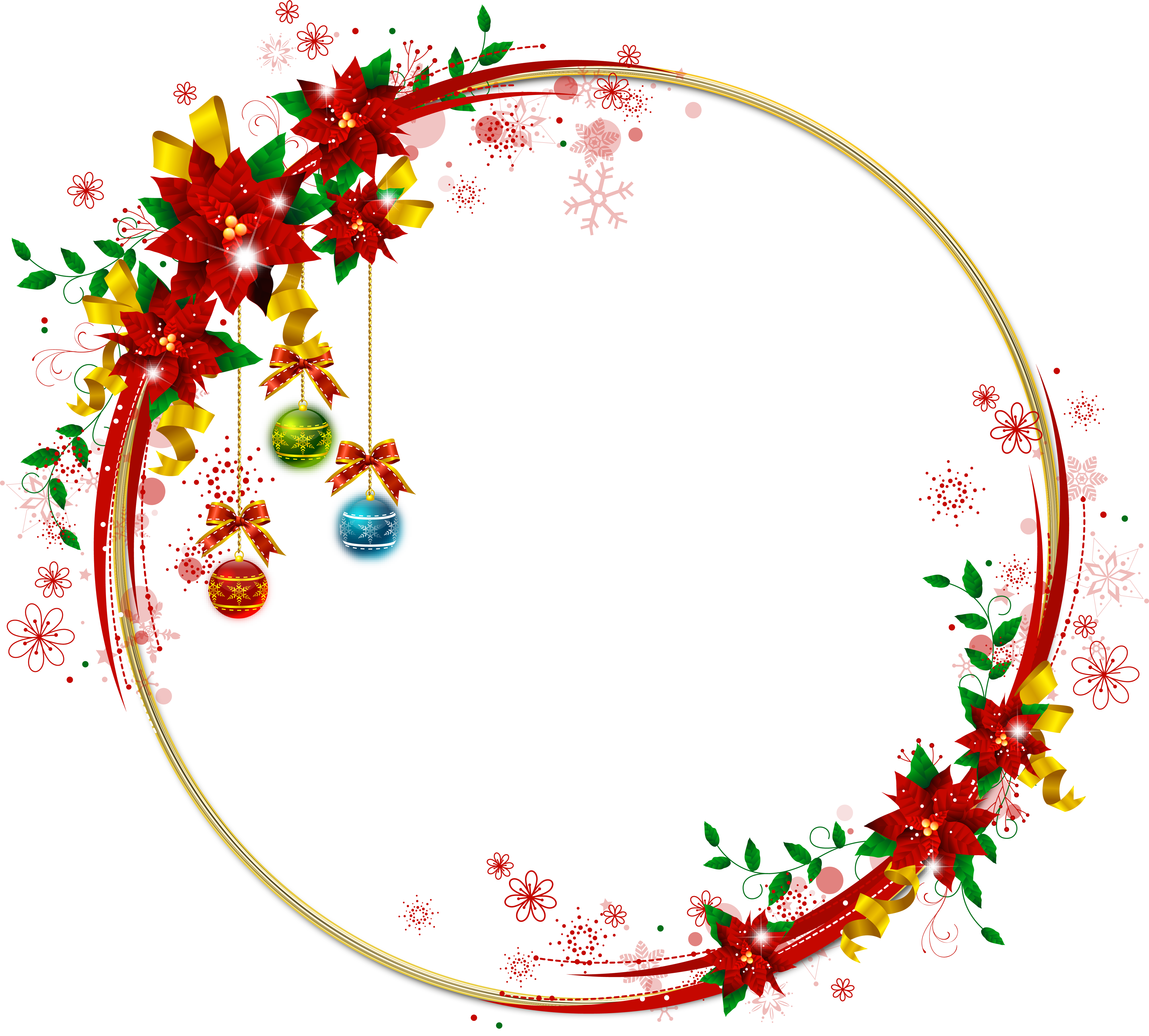 Poinsettias clipart gold. Round transparent png christmas