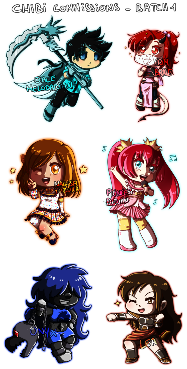 Point drawing anime. Chibi commissions batch by