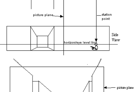 Point drawing hallway. Interior perspective free design