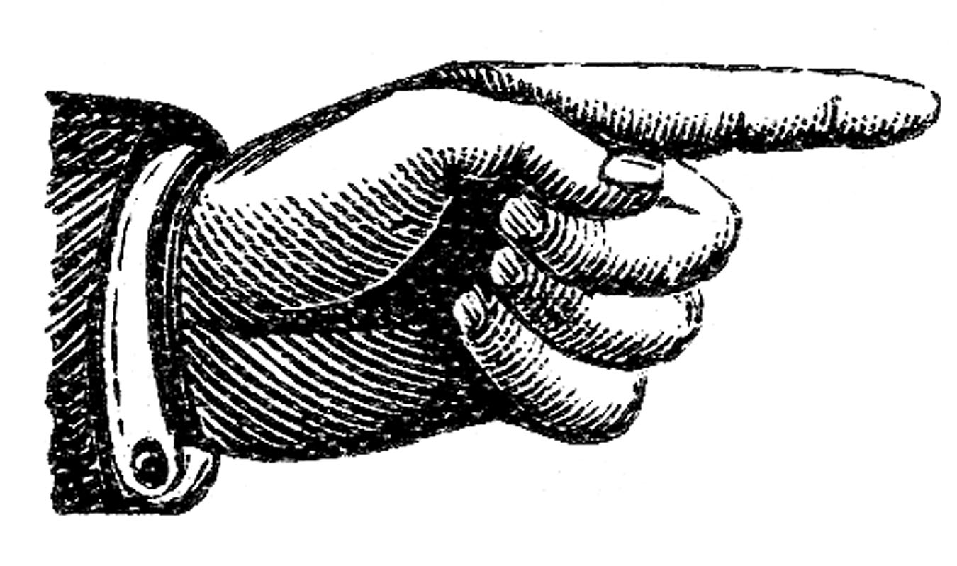 Victorian clipart. Clip art pointing hands