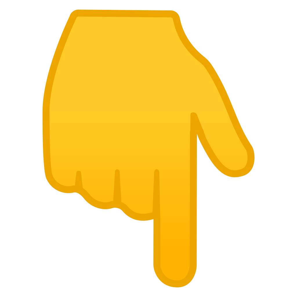 Pointing finger emoji png. Backhand index down icon
